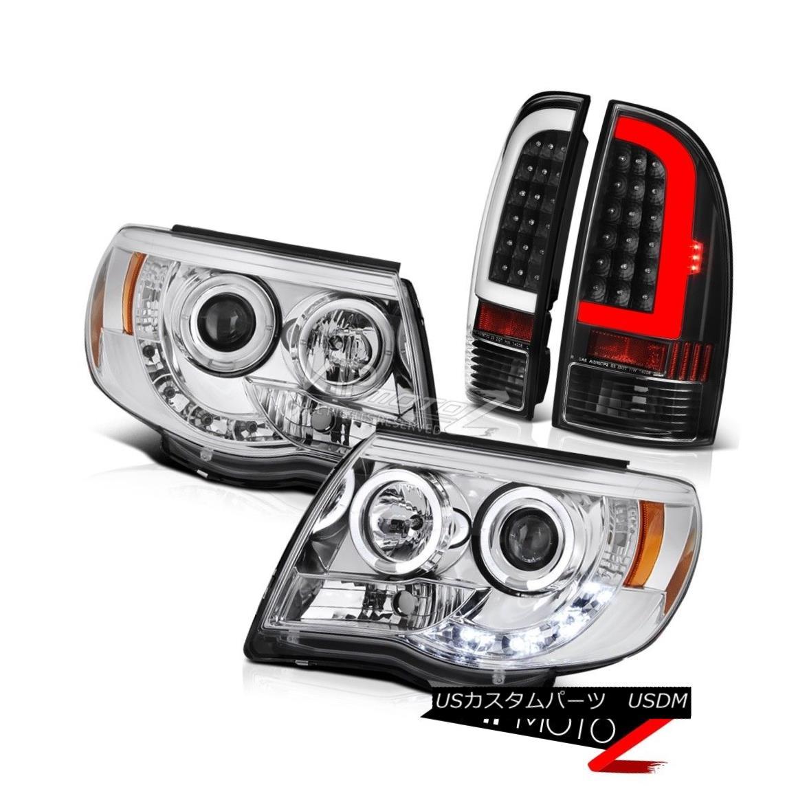 ヘッドライト 05-11 Toyota Tacoma Black Neon Tube Rear Clear Chrome Projector Head Lamps Pair 05-11トヨタタコマブラックネオンチューブリアクリアクロームプロジェクターヘッドランプペア