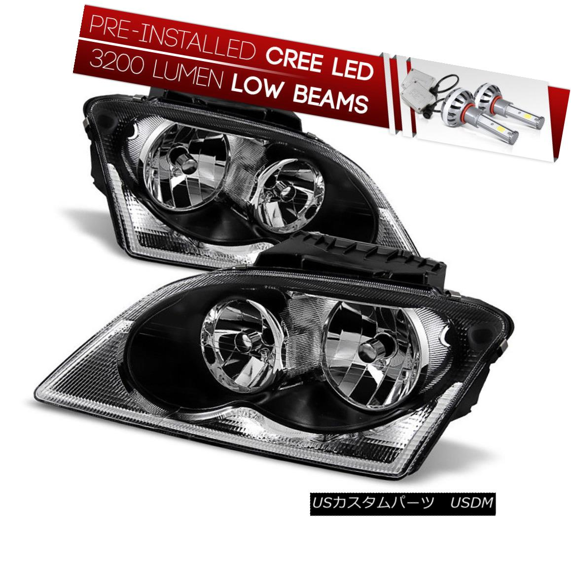 ヘッドライト [CREE LED Bulb Installed] 04-06 Chrysler Pacifica Black Replacement Headlight [CREE LED Bulb Installed] 04-06クライスラーパシフィカブラック交換ヘッドライト