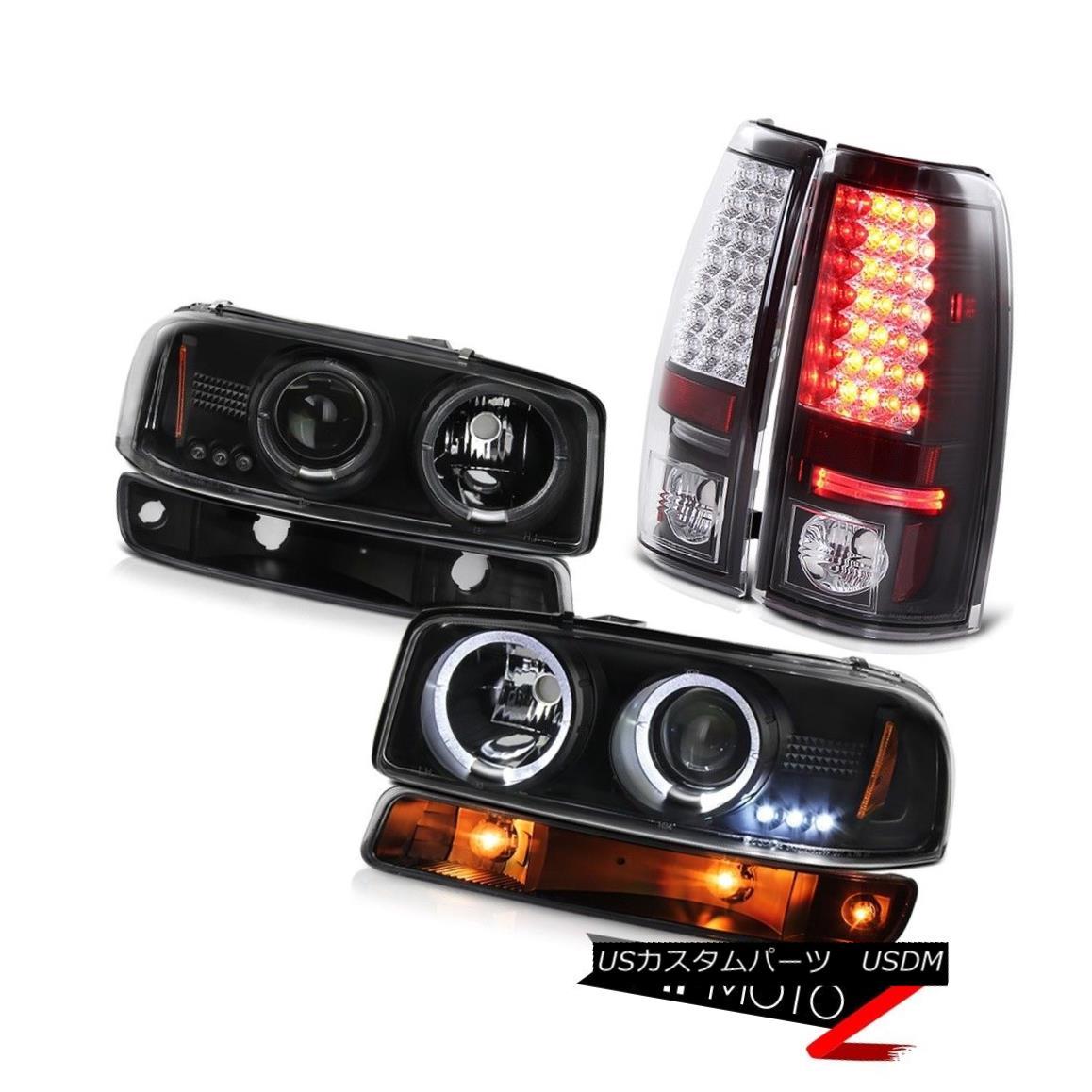 ヘッドライト 1999-2006 Sierra 6.6L Inky black taillights bumper light projector headlights 1999-2006シエラ6.6Lインキブラックテールライトバンパーライトプロジェクターヘッドライト