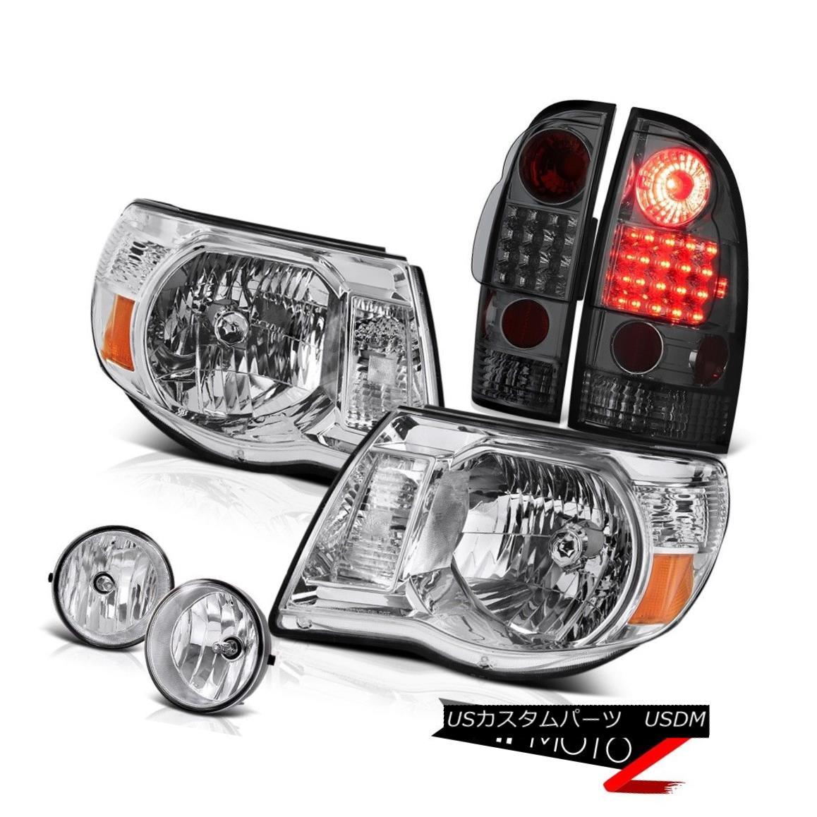 ヘッドライト 2005-2011 Tacoma 4.0L Chrome Amber Pair Headlights Smoke LED Tail Light Foglight 2005-2011タコマ4.0LクロームアンバーペアヘッドライトスモークLEDテールライトFoglight