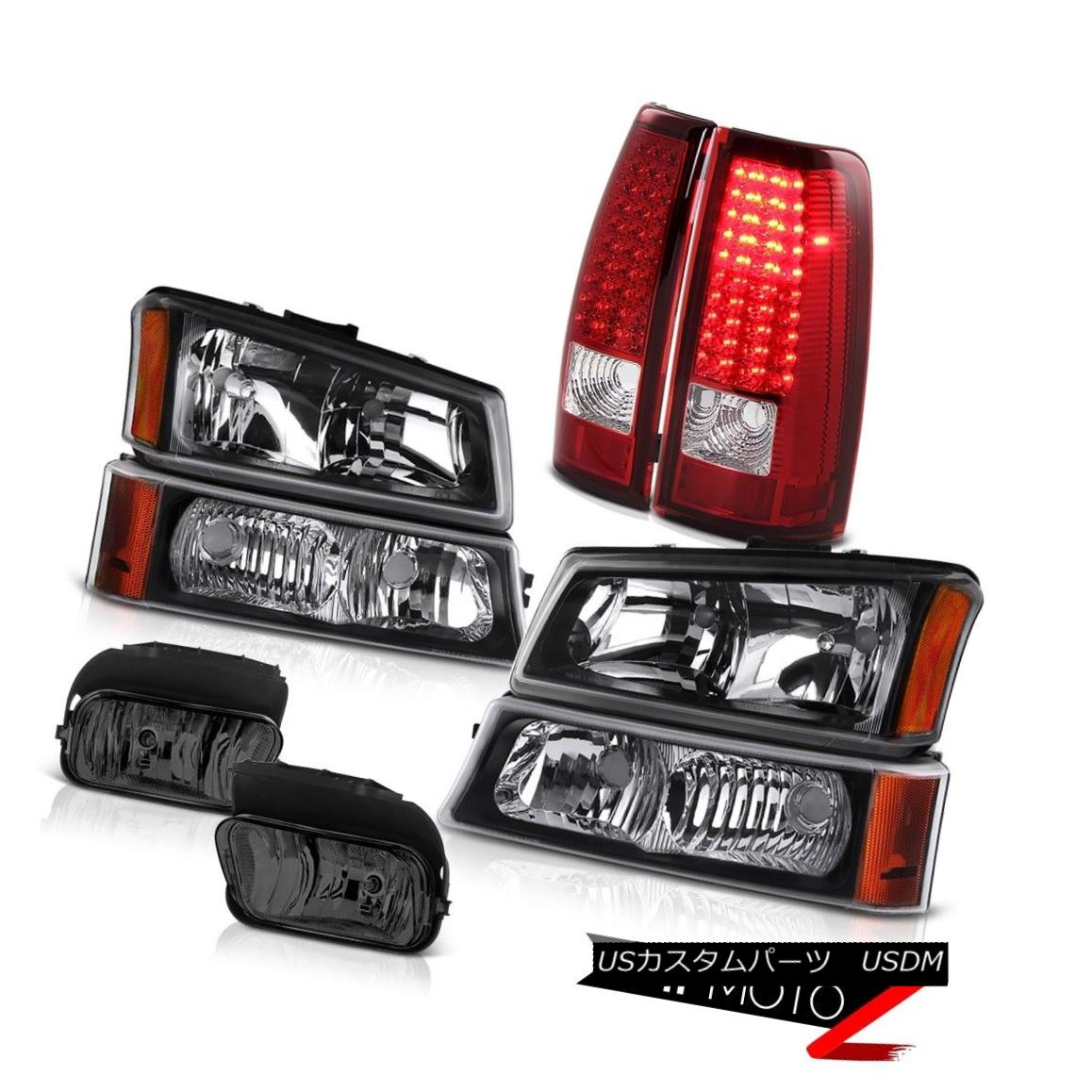ヘッドライト 03-06 Silverado 5.3L V8 Black Head Lights Lamps Bumper LED Tail Driving Foglight 03-06 Silverado 5.3L V8ブラックヘッドライトランプバンパーLEDテール駆動Foglight