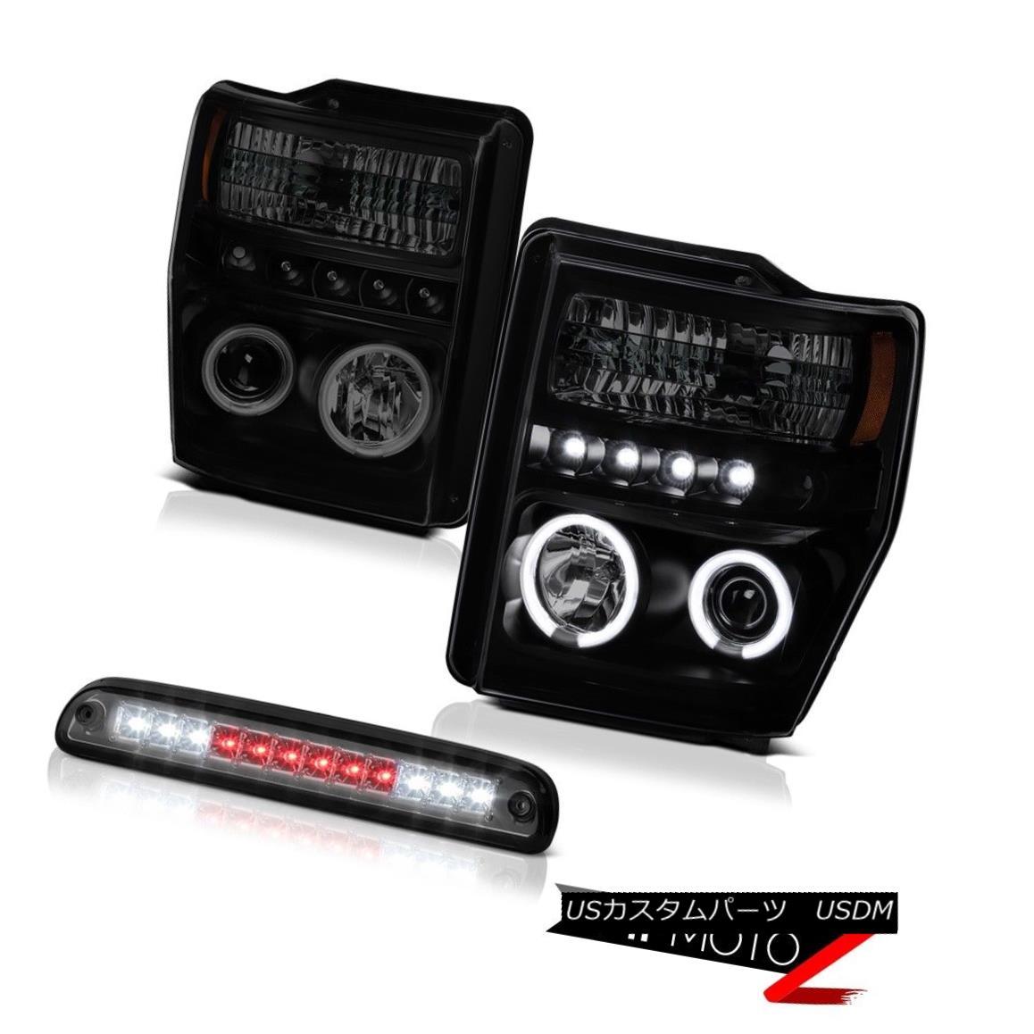 ヘッドライト 2008-2010 F350 Turbo Diesel [BRIGHTEST] CCFL Rim Headlights Roof Stop LED Tinted 2008年?2010年F350ターボディーゼル[BLIGHTEST] CCFLリムヘッドライトルーフストップLED Tinted