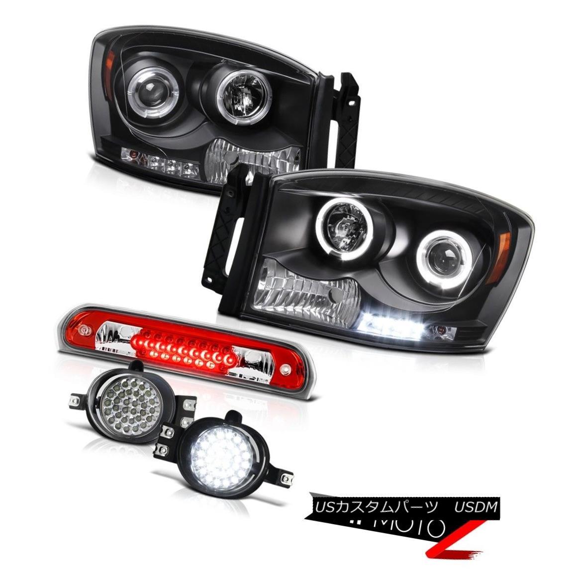 ヘッドライト Black Headlights Projector Wiring+LED Fog Wine Red Third Brake LED 07-08 Ram V8 ブラックヘッドライトプロジェクター配線+ LEDフォグワインレッド第3ブレーキLED 07-08 Ram V8