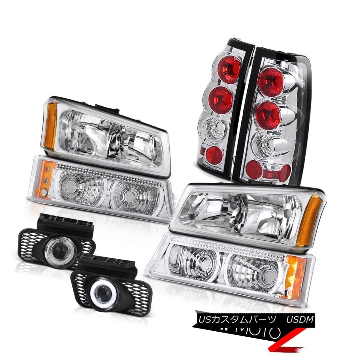 ヘッドライト Chrome Front Headlamps Signal Brake Tail Lights Projector Foglamp Silverado 2500 クロムフロントヘッドランプ信号ブレーキテールライトプロジェクターFoglamp Silverado 2500