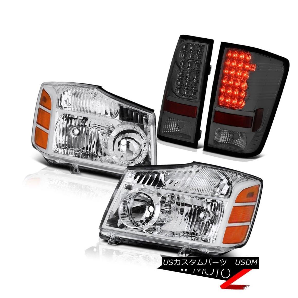 ヘッドライト For 2004-2015 Titan XE Crystal Clear Headlamps Assembly Smoke Tail Lights LED 2004年?2015年タイタンXEクリスタルクリアヘッドランプアセンブリ煙テールライトLED