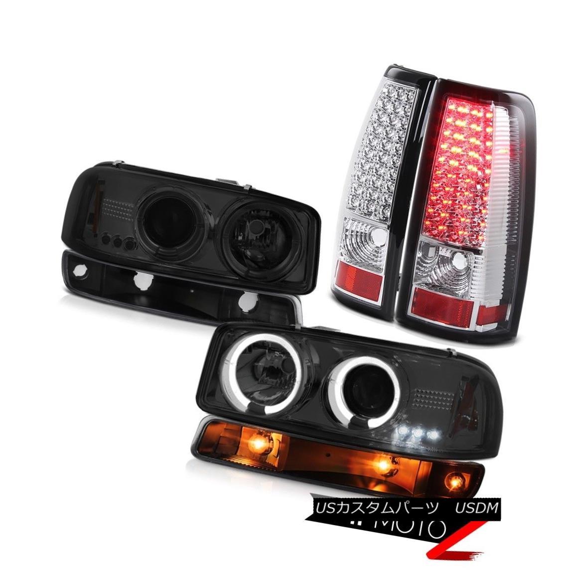 ヘッドライト 1999-2002 Sierra 3500HD Euro chrome led tail lights black bumper lamp headlamps 1999-2002シエラ3500HDユーロクロームLEDテールライトブラックバンパーランプヘッドライト