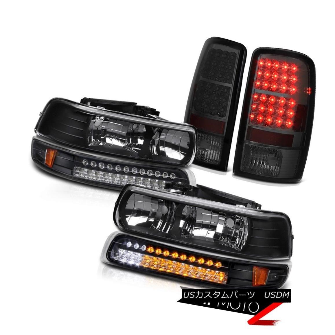 ヘッドライト 2000-2006 Suburban 2500 Pair Black Headlamp SMD Turn Signal Smoke Tail Light LED 2000-2006郊外2500ペアブラックヘッドランプSMDターンシグナル煙テールライトLED