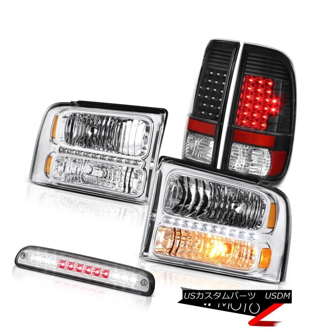 ヘッドライト 2005-2007 F250 XL Pair Clear Headlights LED Black Taillights High Stop Chrome 2005-2007 F250 XLペアクリアヘッドライトLEDブラックテールライトハイストップクローム