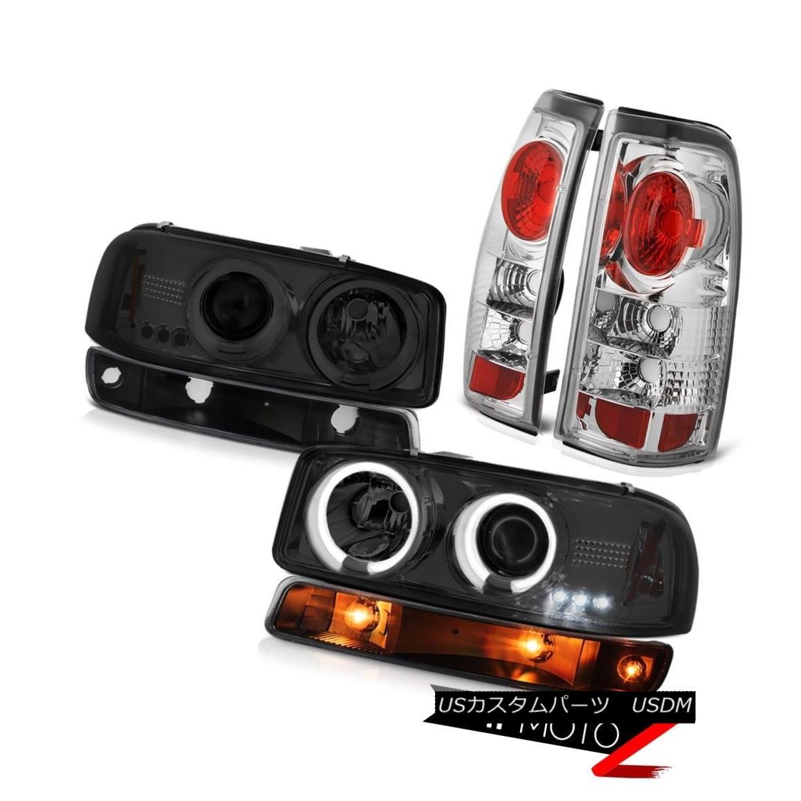 ヘッドライト 1999-2002 Sierra 6.6L Tail lights matte black signal lamp smoked ccfl headlamps 1999-2002 Sierra 6.6Lテールライトマットブラックシグナルランプスモークccflヘッドライト