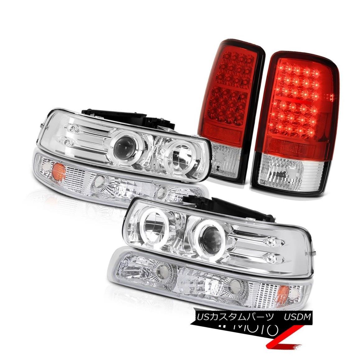 ヘッドライト Chrome Projector Headlamps Parking LED Signal Taillamps 2000-2006 Chevy Tahoe クロムプロジェクターヘッドランプパーキングLEDシグナルタイヤーランプ2000-2006 Chevy Tahoe