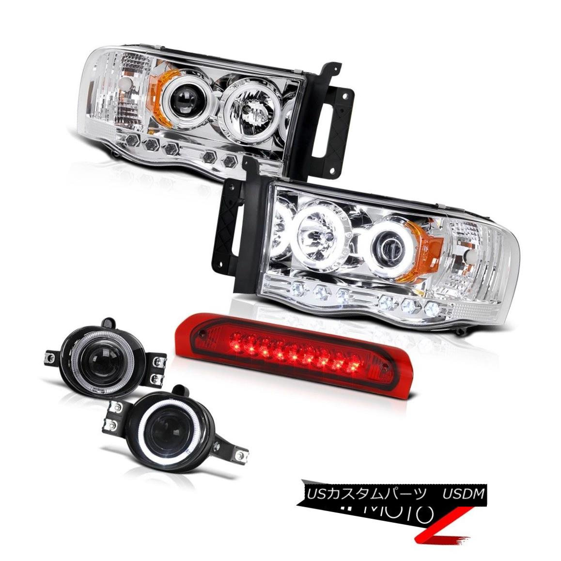 ヘッドライト >^CCFL^< HaLo Projector Headlight+3rd Brake+Black LED Tail Light 02-05 Dodge RAM CCFL ^&lt; ハロプロジェクターヘッドライト+第3ブレーキ+ブラックLEDテールライト02-05 Dodge RAM