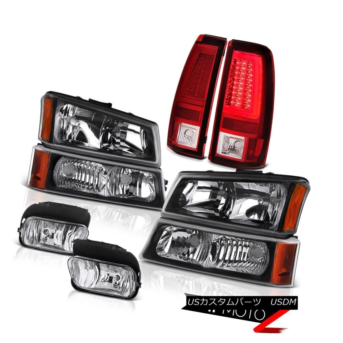 ヘッドライト 03-06 Silverado Tail Lights Black Headlamps Chrome Fog