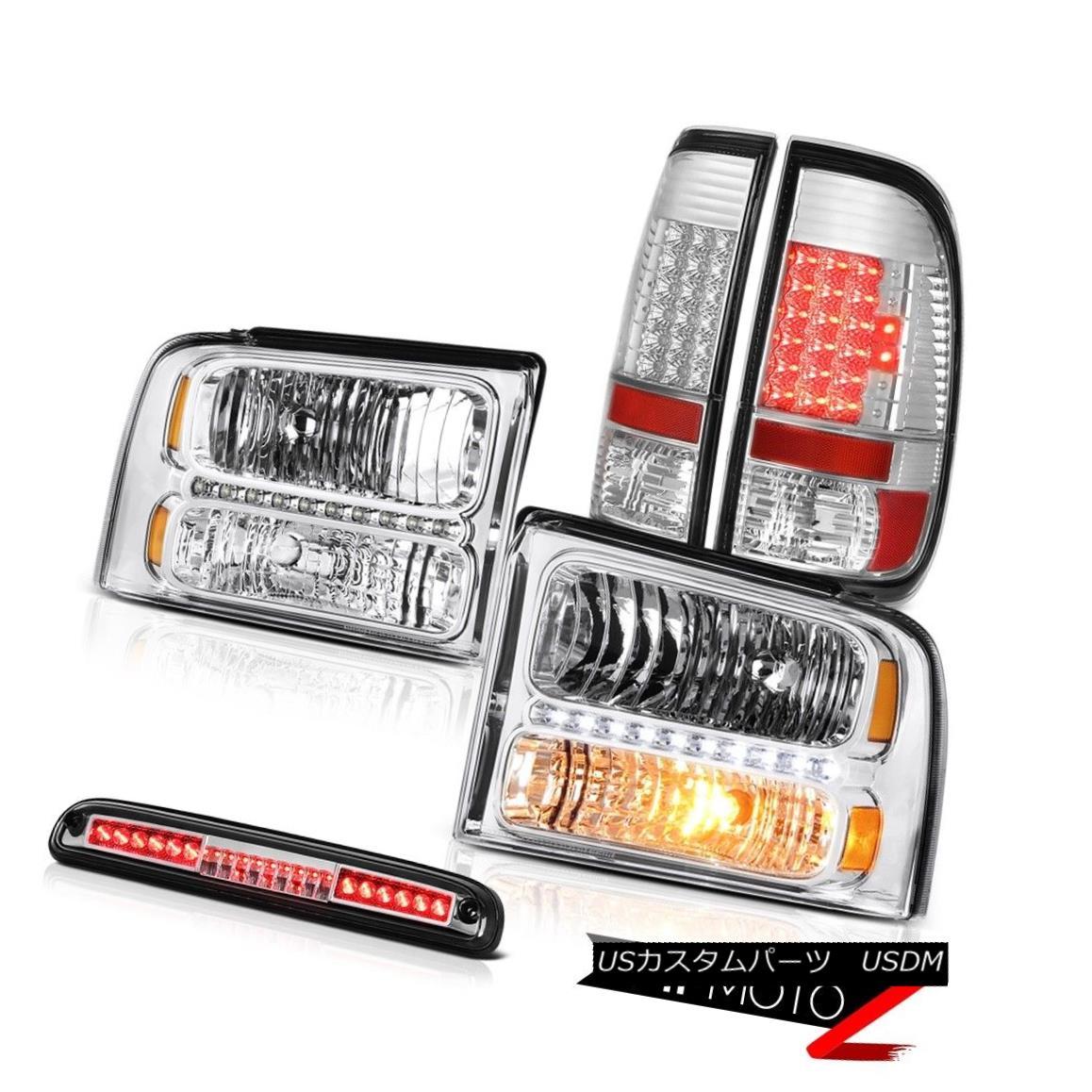 ヘッドライト 2005-2007 F350 5.4L Crystal Clear Headlights LED Tail Lights Roof Stop Chrome 2005-2007 F350 5.4LクリスタルクリアヘッドライトLEDテールライトルーフストップクローム