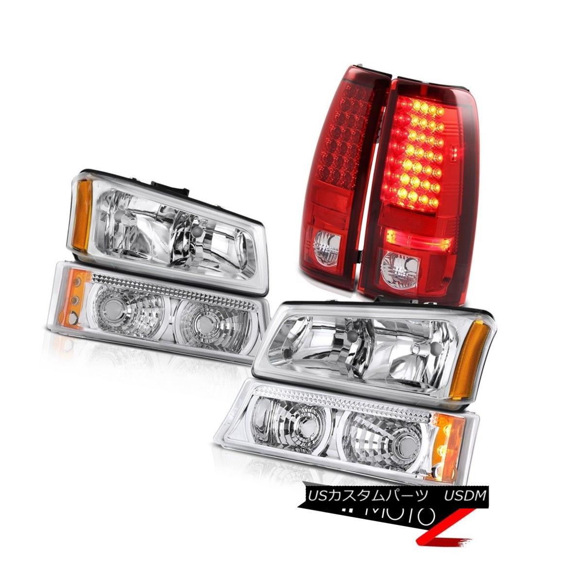 ヘッドライト Chrome Front Headlights Euro Bumper Lamp Brake Taillights 03-06 Silverado 3500HD クロームフロントヘッドライトユーロバンパーランプブレーキテールライト03-06シルバラード3500HD