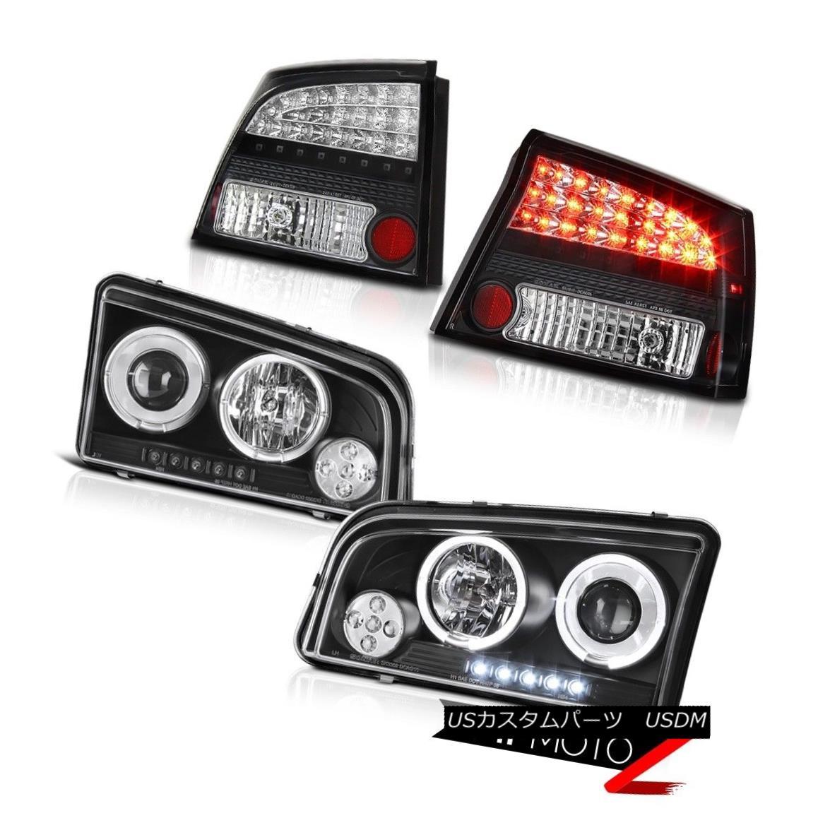 ヘッドライト 2006-2008 Charger SXT Halo Projector Headlights Front Lamps LED Black Taillights 2006-2008充電器SXT HaloプロジェクターヘッドライトフロントランプLEDブラックテイルライト