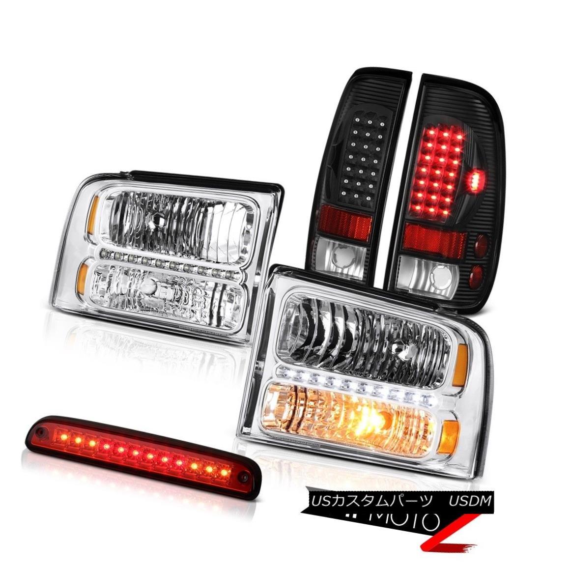 ヘッドライト 05-07 Ford F550 Crystal Clear Headlights Black LED Taillights Red Third Brake 05-07 Ford F550クリスタルクリアヘッドライトブラックLEDテールライトレッド第3ブレーキ