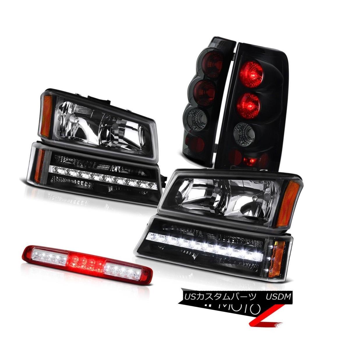 ヘッドライト 03-06 Silverado Third Brake Light Black Headlights Bumper Sinister Tail Lamps 03-06 Silverado第3ブレーキライトブラックヘッドライトバンパーシニスターテールランプ