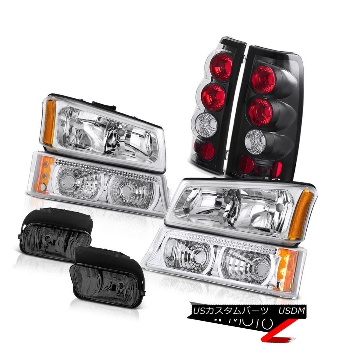 ヘッドライト 03-06 Silverado DuraMax 6.6L Left Right Headlights Black Euro Tail Light Foglamp 03-06 Silverado DuraMax 6.6L左ライトヘッドライトブラックユーロテールライトフォグライト