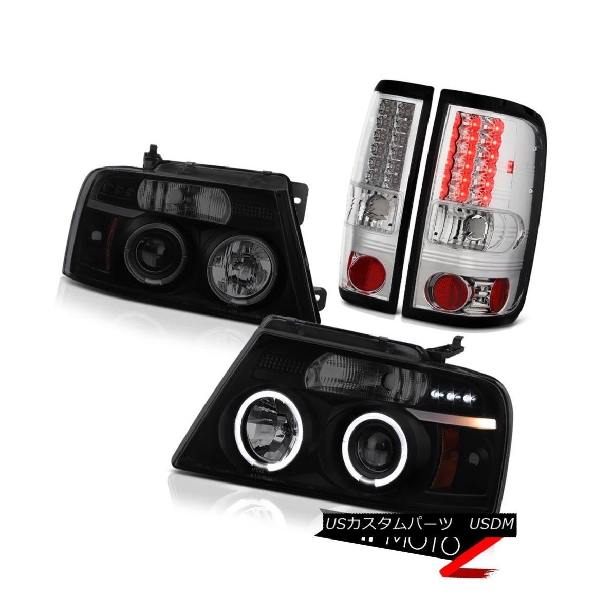 ヘッドライト 2004-2008 Ford F150 Lobo 2X Angel Eye Projector Headlights Bright LED Tail Light 2004-2008フォードF150ロボ2Xエンジェルアイプロジェクターヘッドライト明るいLEDテールライト