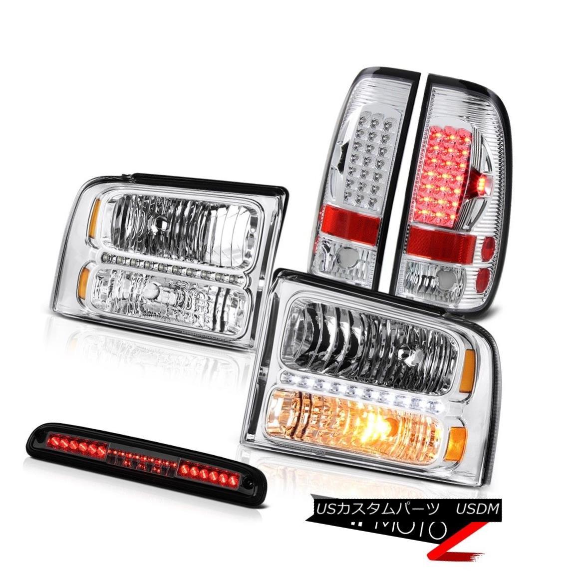ヘッドライト Crystal Headlight LH RH Brake Taillights High Stop LED Smoke 2005-2007 F250 6.8L クリスタルヘッドライトLH RHブレーキテールライトハイストップLEDスモーク2005-2007 F250 6.8L