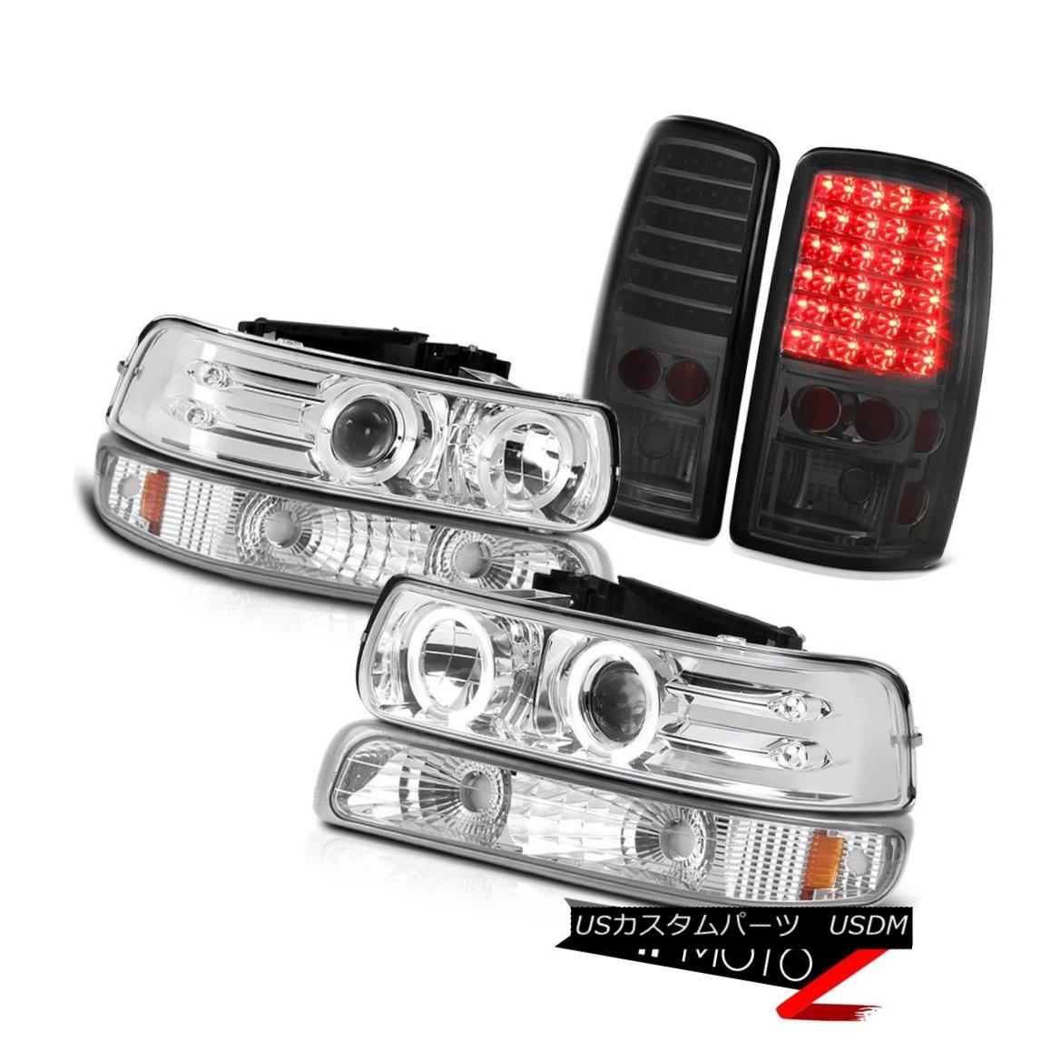 ヘッドライト 2000-2006 Suburban 2500 2X Angel Eye Projector Headlights Smoke Tail Lights LED 2000-2006郊外2500 2XエンジェルアイプロジェクターヘッドライトスモークテールライトLED