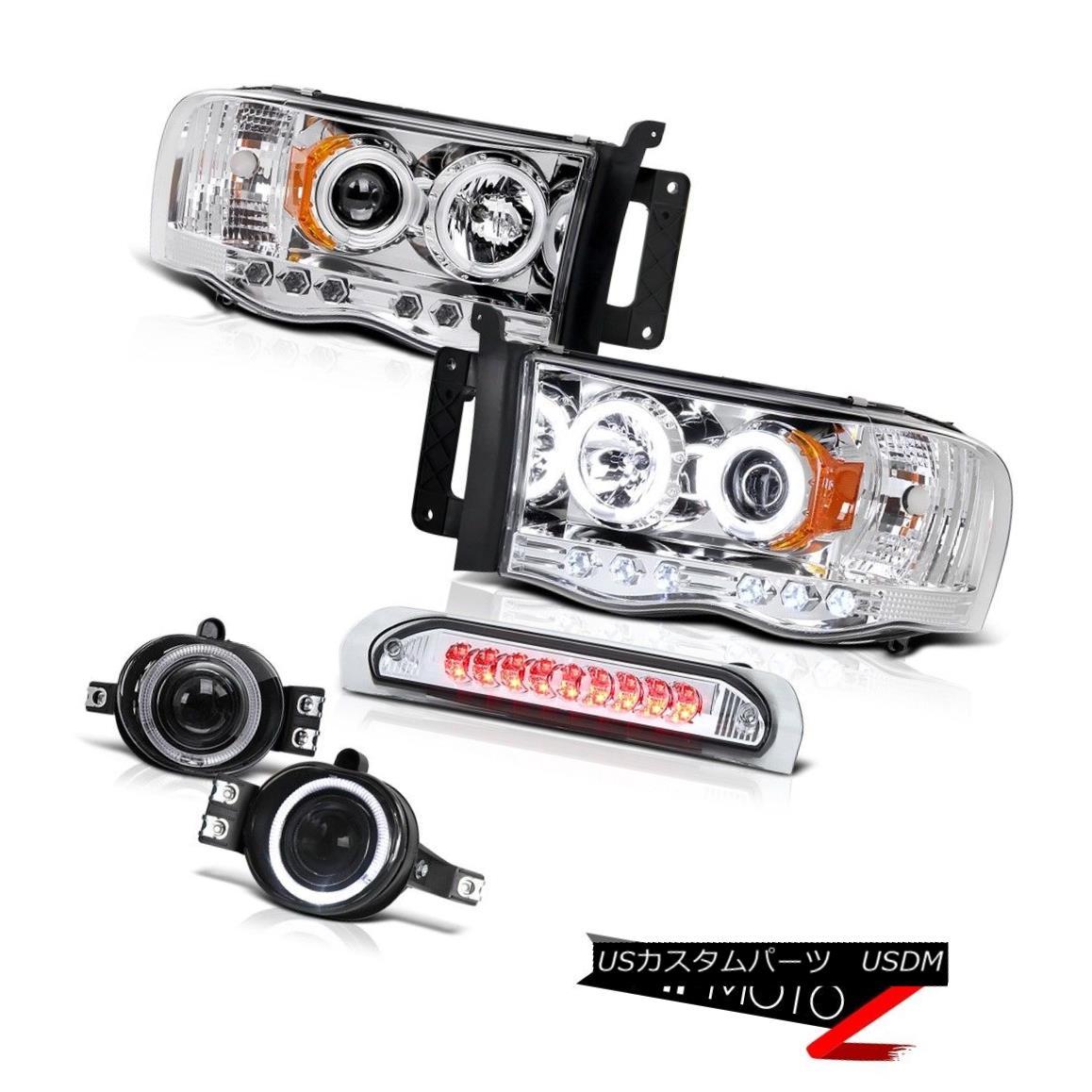 ヘッドライト >^CCFL^< HaLo Projector Headlight+3rd Brake+Chrome LED Taillight Dodge 02-05 RAM CCFL ^&lt; ハロプロジェクターヘッドライト+第3ブレーキ+クロームLEDテールライトドッジ02-05 RAM