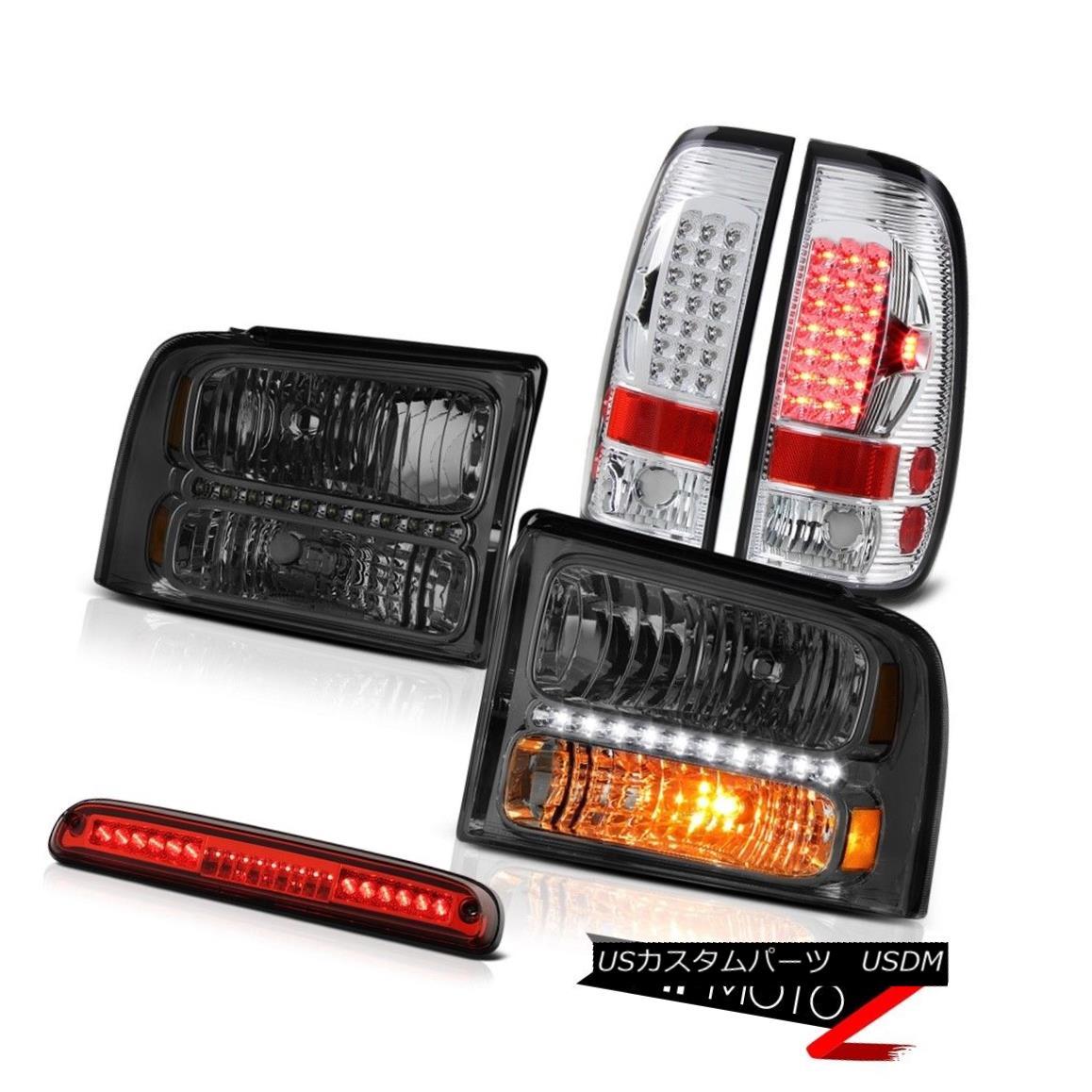 ヘッドライト 2005-2007 F250 6.0L Crystal Smoke Headlights Chrome LED Taillamps High Stop Red 2005-2007 F250 6.0LクリスタルスモークヘッドライトクロームLEDタイルランプハイストップレッド
