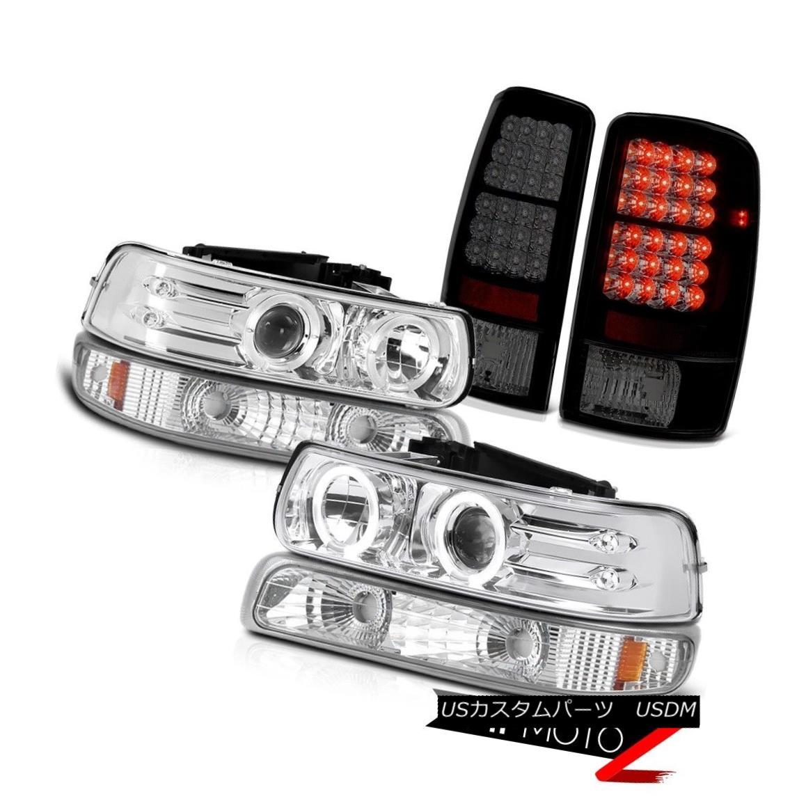 ヘッドライト Angel Eye Headlights Bumper Smoke Tinted LED Tail Lights 2000-2006 Suburban 5.3L エンジェルアイヘッドライトバンパースモークティンテッドLEDテールライト2000-2006郊外5.3L