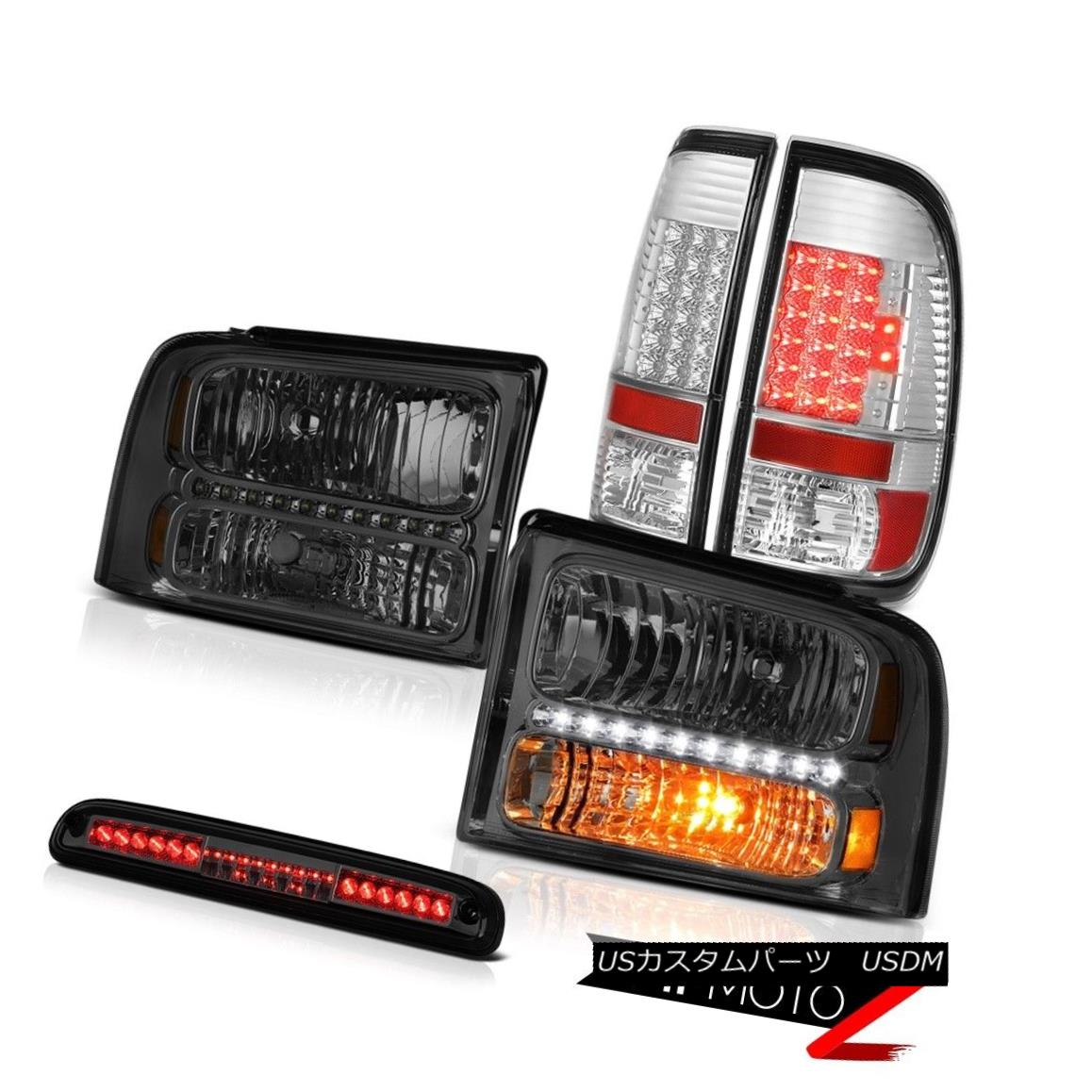 ヘッドライト 2005-2007 F250 Turbo Diesel Pair Smoke Headlamps LED Tail Lights 3rd Brake Tint 2005-2007 F250ターボディーゼルペア煙ヘッドランプLEDテールライト第3ブレーキティント