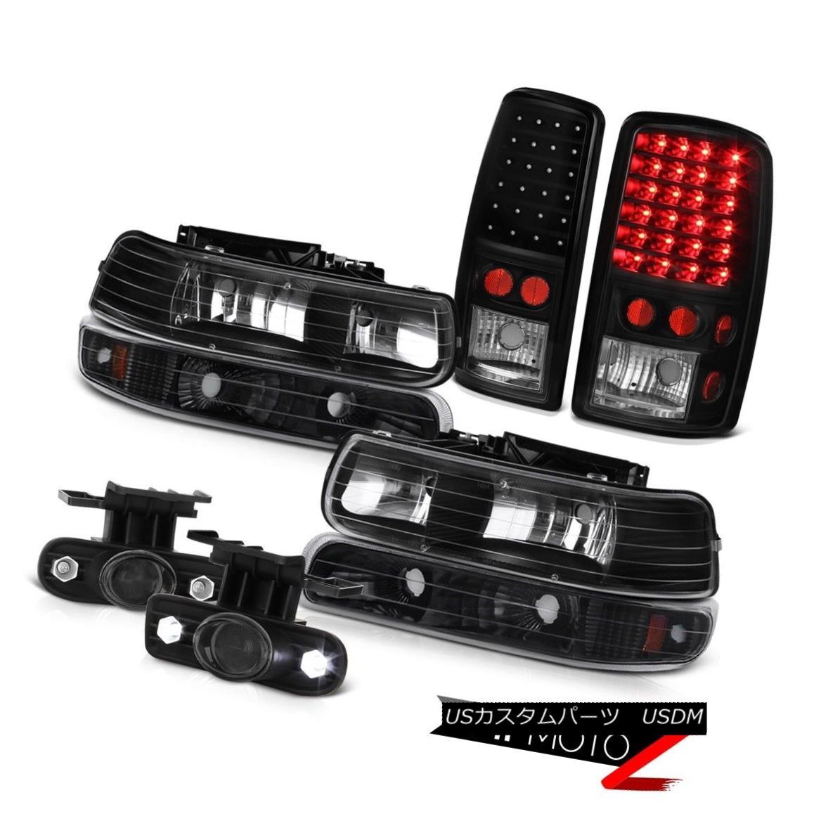 ヘッドライト 2000-2006 Suburban 6.0L Pair Black Headlamp LED Taillights Projector Tinted Fog 2000-2006郊外6.0LペアブラックヘッドランプLED尾灯プロジェクター着色霧