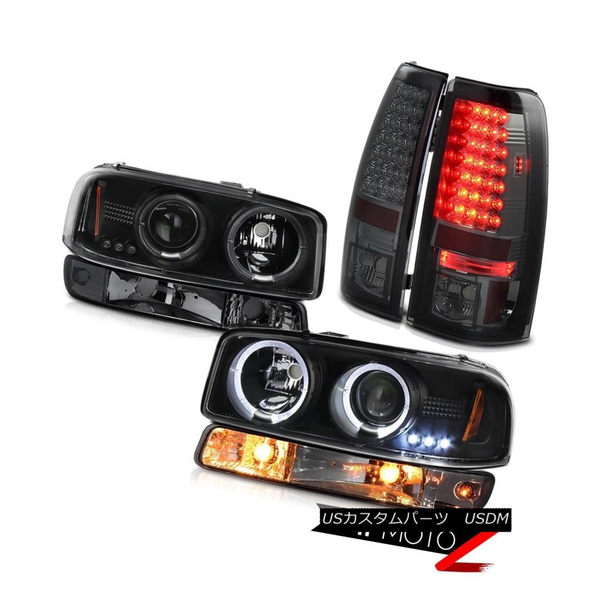 ヘッドライト 99-02 Sierra 6.6L SMD tail brake lamps bumper lamp black projector headlamps 99-02シエラ6.6L SMDテールブレーキランプバンパーランプブラックプロジェクターヘッドライト