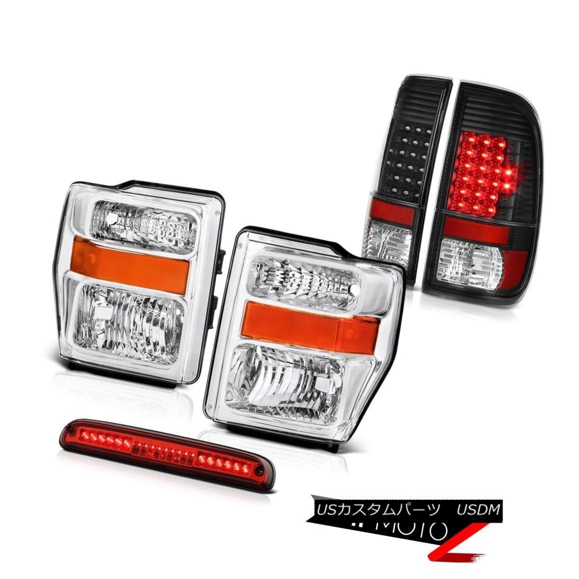 ヘッドライト 08-10 F350 6.8L Crystal Headlights Black Brake Tail Lights Wine Red Third LED 08-10 F350 6.8Lクリスタルヘッドライトブラックブレーキテールライトワインレッド第3 LED