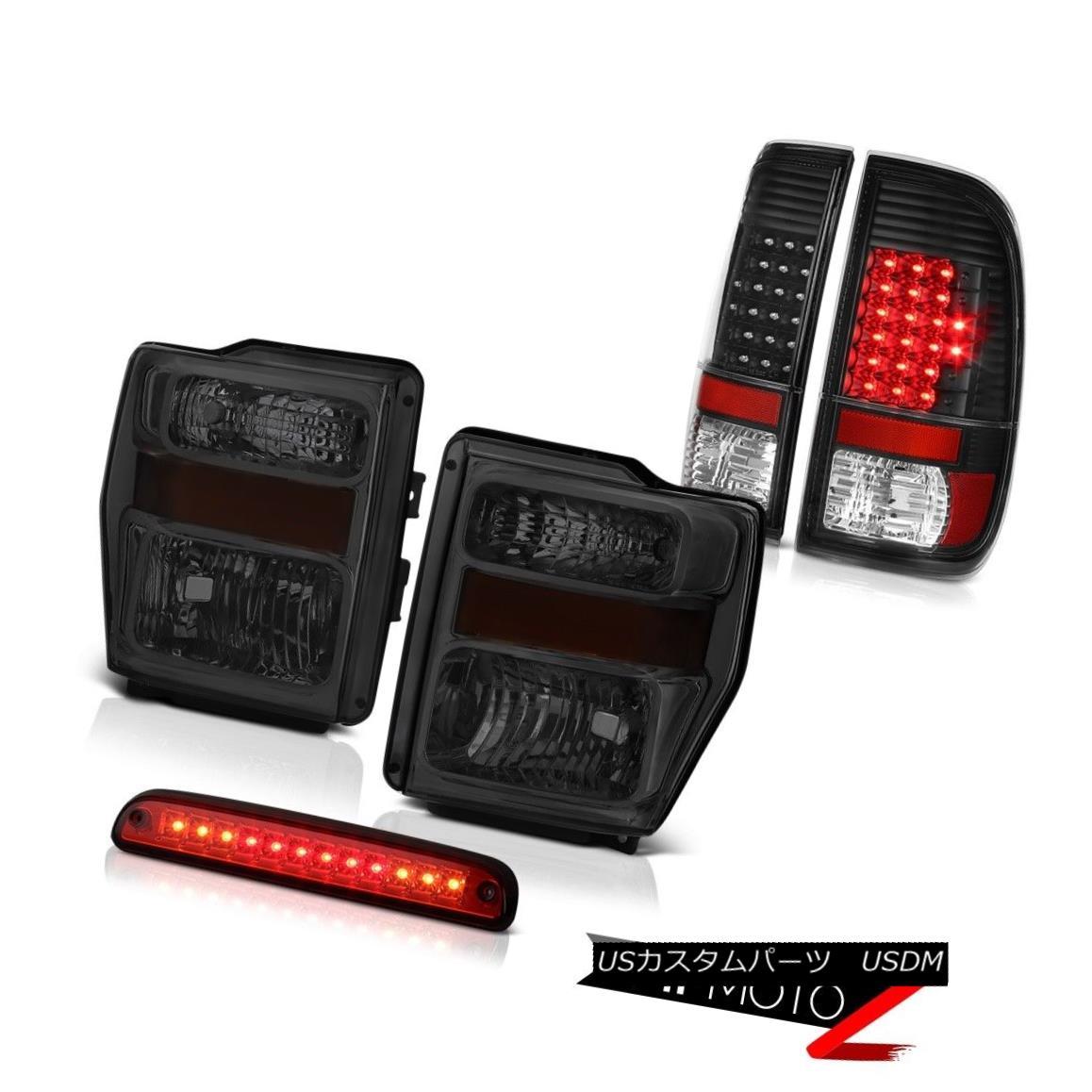 ヘッドライト 08-10 F250 Turbo Diesel Tinted Headlamps Black LED Taillights Wine Red 3rd Brake 08-10 F250 Turbo Diesel Tinted HeadlampsブラックLEDテールライトワインレッド3rdブレーキ