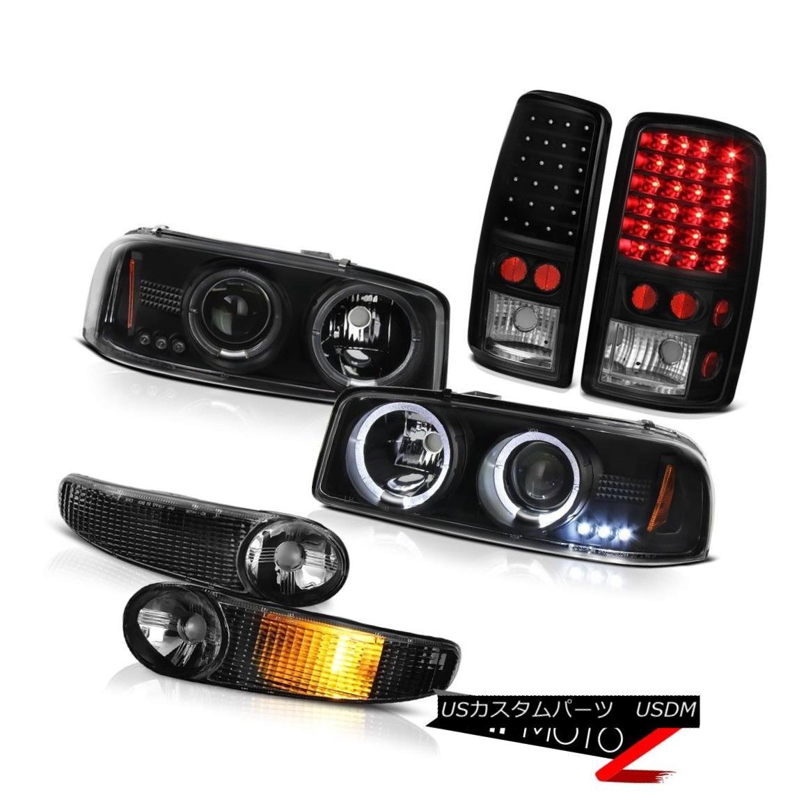 ヘッドライト 2X Angel Eye Projector Headlights Black Signal Bumper LED Tail Lamps 00-06 Yukon 2XエンジェルアイプロジェクターヘッドライトブラックシグナルバンパーLEDテールランプ00-06ユーコン