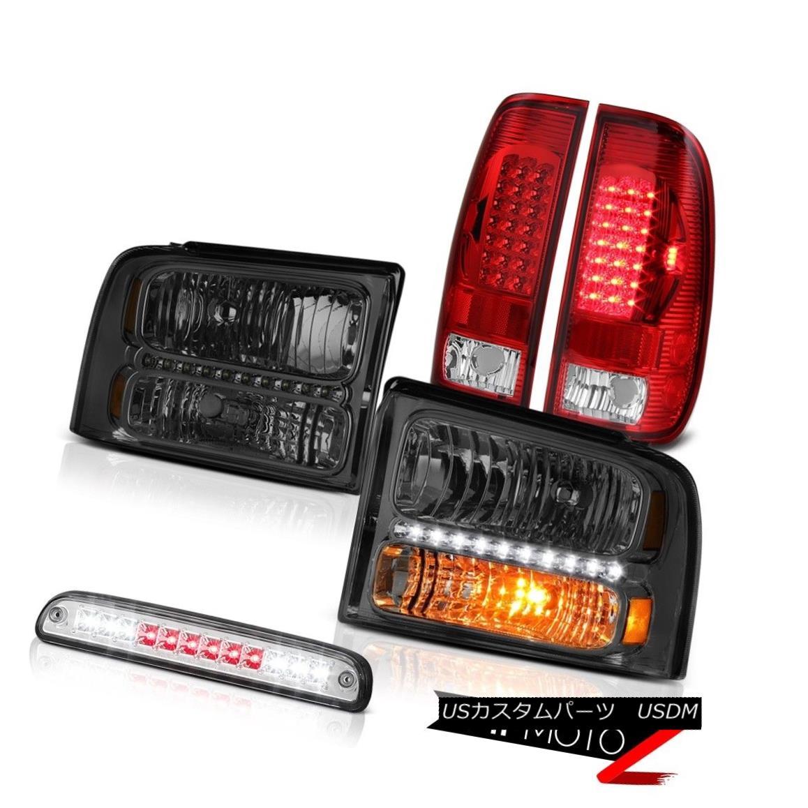 ヘッドライト 05-07 Ford F250 SD Crystal Smoke Headlights SMD Tail Light Clear Third Brake LED 05-07 Ford F250 SDクリスタルスモークヘッドライトSMDテールライトクリア第3ブレーキLED