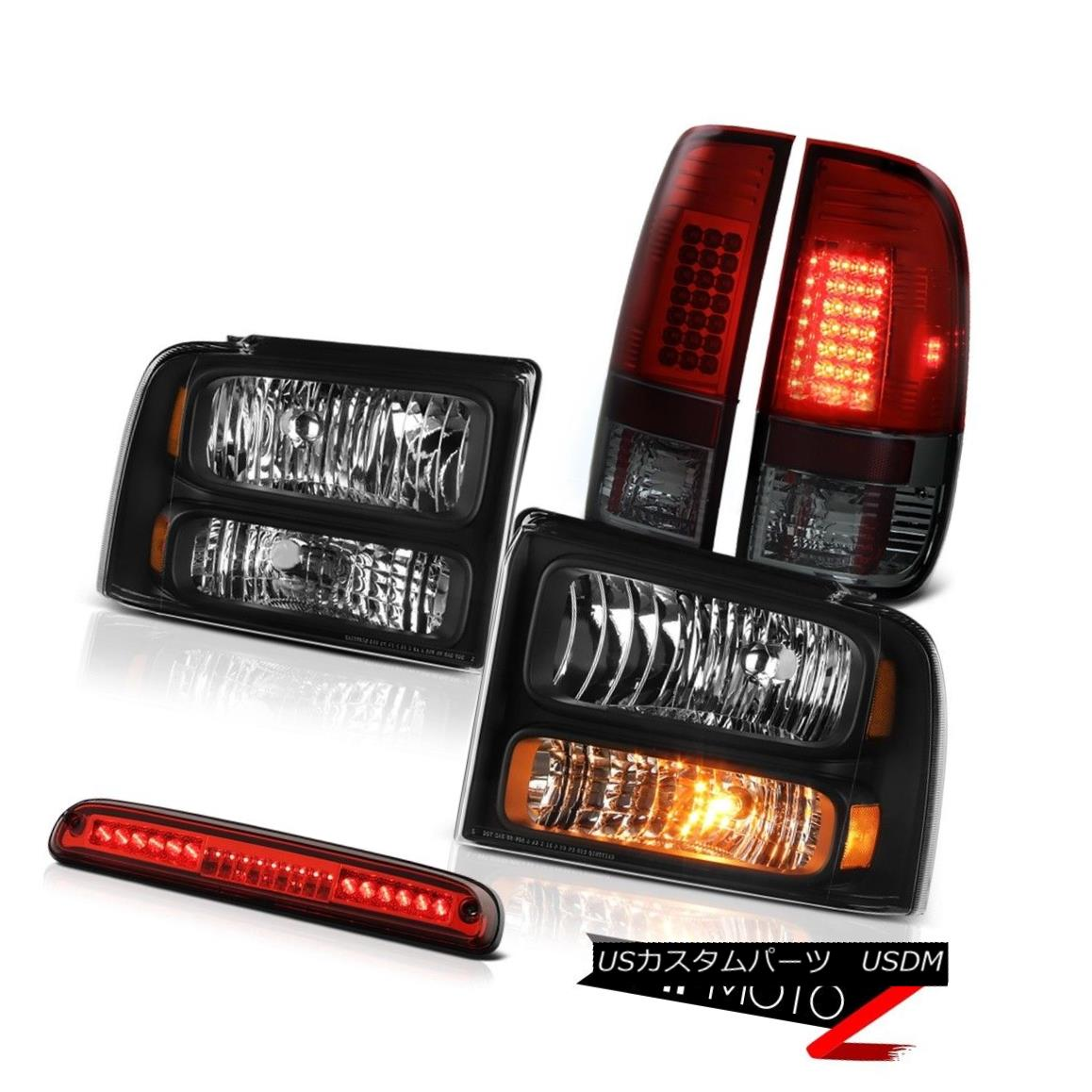ヘッドライト 05 06 07 F450 F550 Left Right Headlights Smokey Red Tail Lights Third Brake LED 05 06 07 F450 F550左ライトヘッドライトスモーキーレッドテールライト第3ブレーキLED