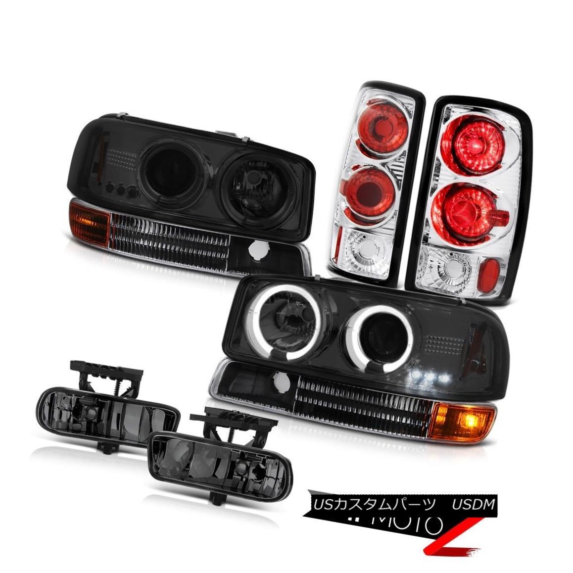 ヘッドライト Tinted Halo LED Headlights Rear Brake Lamp Driving FogLamp 2000-2006 Yukon XL V8 有色ハローLEDヘッドライトリアブレーキランプFogLamp 2000-2006を駆動するYukon XL V8