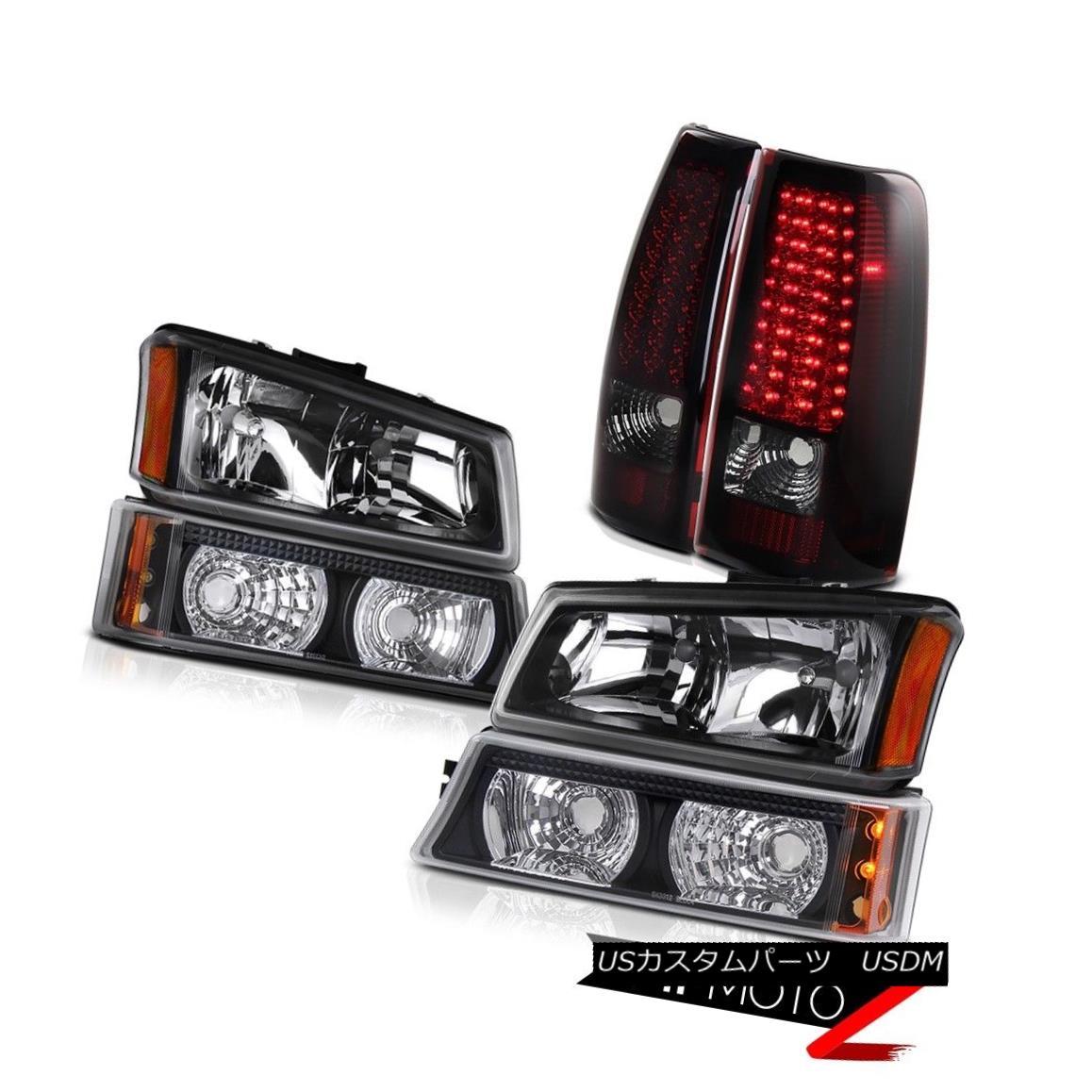 ヘッドライト Matte Black Headlights Signal Bumper Lights 2003 2004 Silverado Smokey Red Tail マットブラックヘッドライト信号バンパーライト2003 2004 Silverado Smokey Red Tail