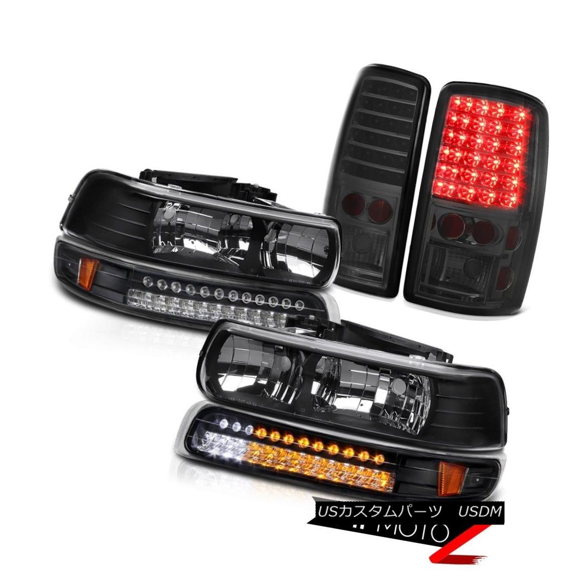 ヘッドライト 00 01 02 03 04 05 06 Suburban 1500 Black Headlights SMD Matte Signal Tail Lights 00 01 02 03 04 05 06郊外1500ブラックヘッドライトSMDマットシグナルテールライト
