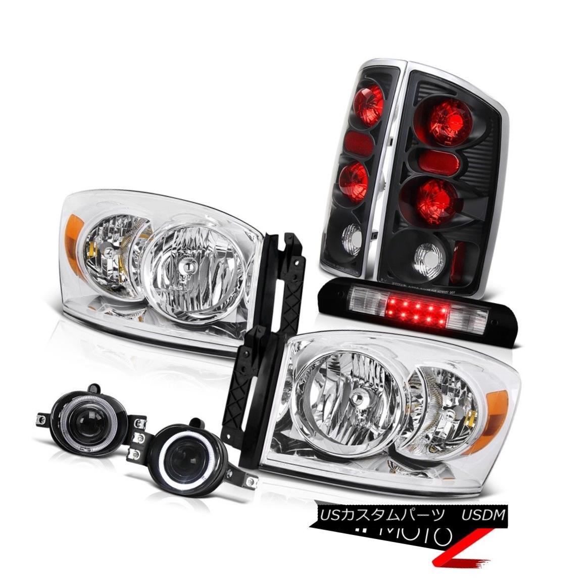 ヘッドライト Crystal Headlights Rear Black Tail Lights Projector Fog LED 2006 Dodge Ram SLT クリスタルヘッドライトリアブラックテールライトプロジェクターフォグLED 2006 Dodge Ram SLT