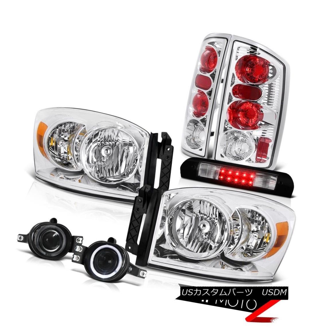 ヘッドライト Pair Clear Headlights Brake Light Halo Projector Fog LED Black 2006 Dodge Ram ST ペアクリアヘッドライトブレーキライトHaloプロジェクターフォグLEDブラック2006 Dodge Ram ST