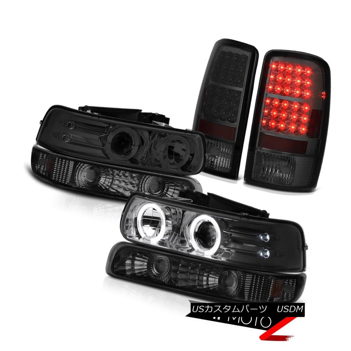 ヘッドライト 2000-2006 Suburban 1500 Headlights Halo DRL LED Smoke Parking Smoked Taillamps 2000-2006郊外1500ヘッドライトHalo DRL LEDスモークパーキングスモークタイルランプ