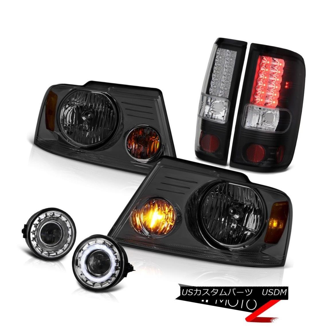 ヘッドライト Smoke Headlights LED Black Tail Lights Halo Projector Foglights 2006-2008 F150 煙ヘッドライトLEDブラックテールライトヘイロープロジェクターフォグライト2006-2008 F150