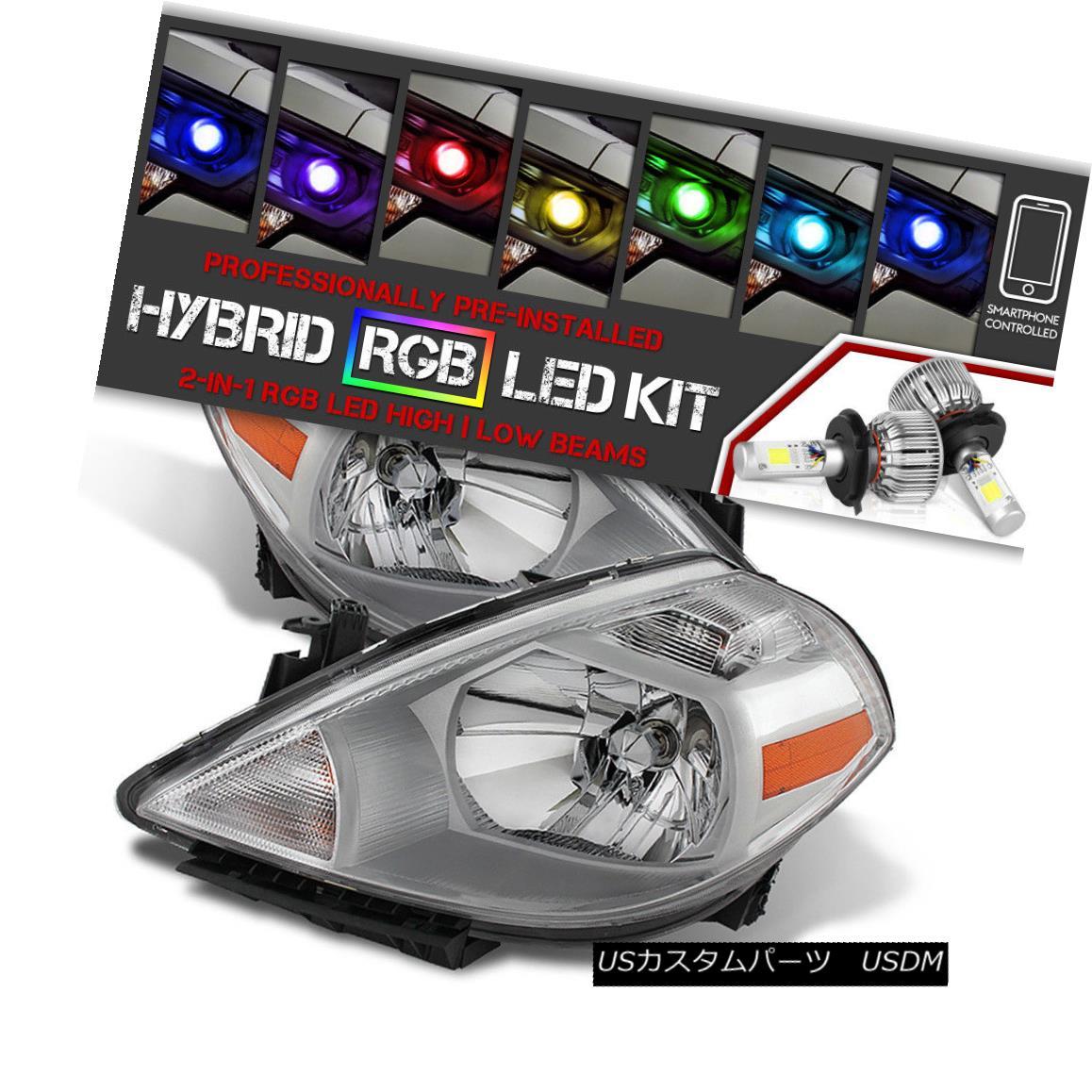 ヘッドライト [Bluetooth RGB LED Bulbs] For 07-12 Nissan Versa Chrome Headlight Lamp Assembly [ブルートゥースRGB LED電球] 07-12日産Versaクロームヘッドライトランプアセンブリ
