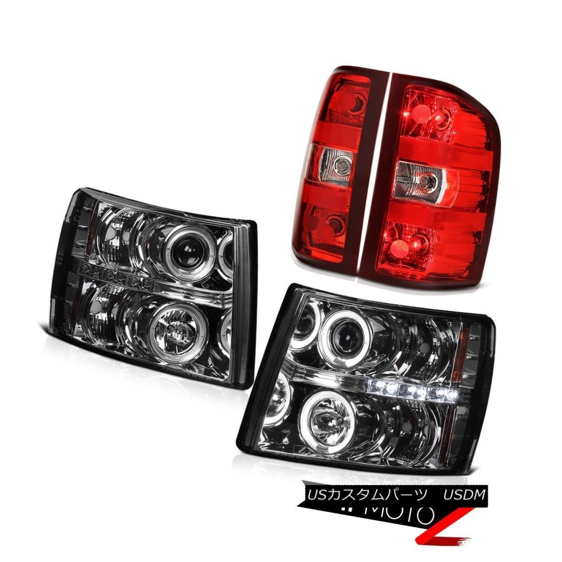 ヘッドライト 2007-2013 Silverado Ls Red Clear Rear Brake Lights Graphite Smoke Headlamps LED 2007-2013 Silverado Lsレッドクリアリアブレーキライト黒鉛煙ヘッドランプLED