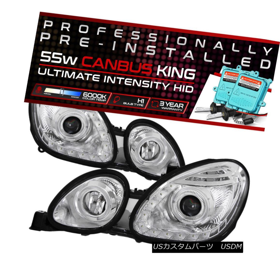 ヘッドライト !55W HID Built-In! 98-05 Lexus GS Chrome DRL Strip Dual Halo Projector Headlight !55W HID内蔵! 98-05レクサスGSクロームDRLストリップデュアルヘイロープロジェクターヘッドライト
