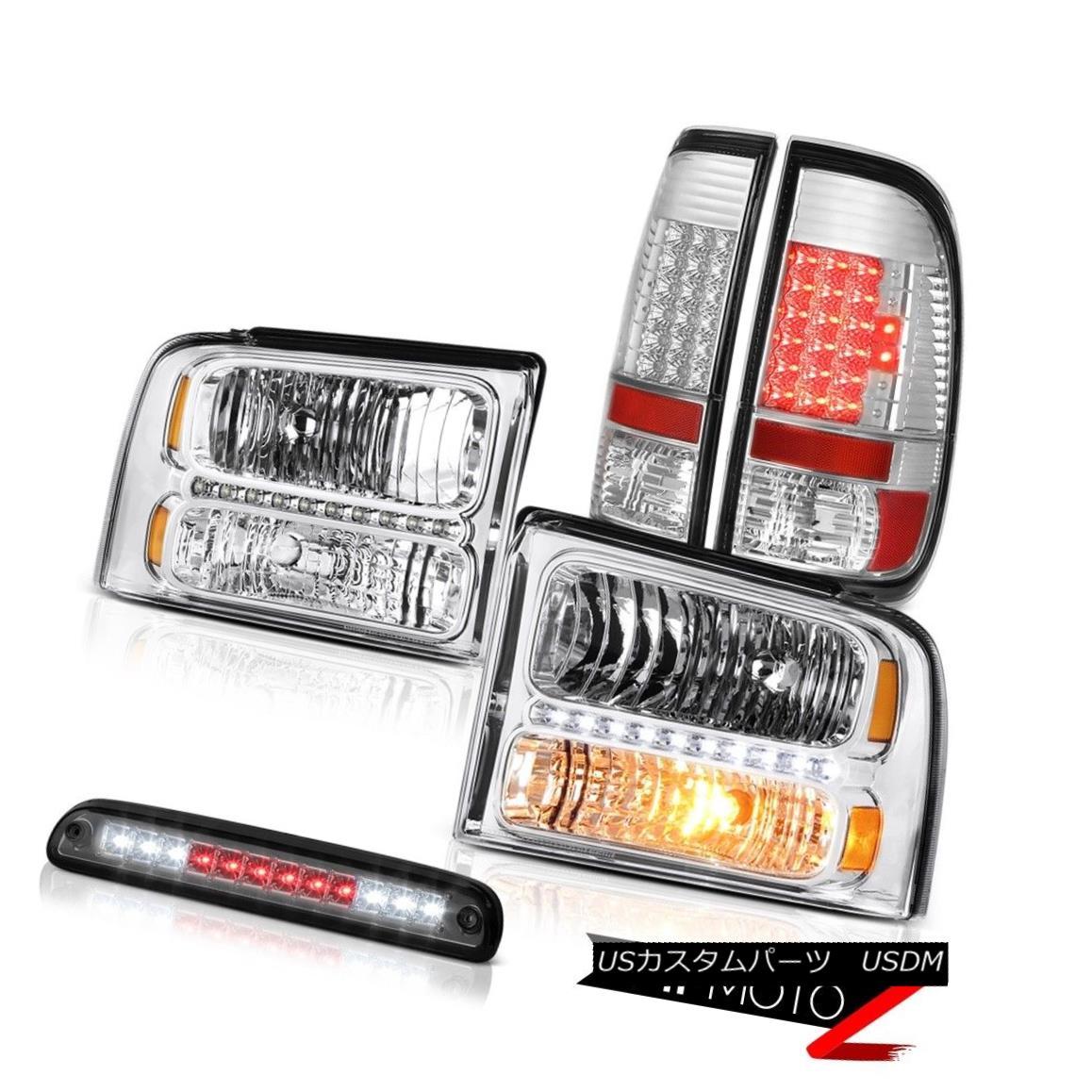 ヘッドライト 2005 2006 2007 F250 6.0L Clear Headlamps Chrome LED Taillights High Brake Cargo 2005 2006 2007 F250 6.0LクリアヘッドランプクロームLED灯台ハイブレーキ貨物