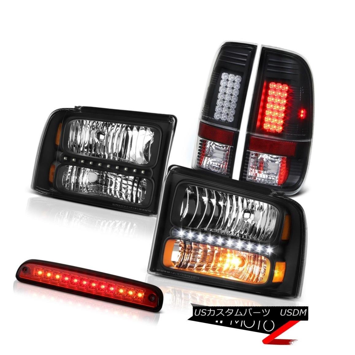 ヘッドライト 2005 2006 2007 Ford F350 SD Black Headlamps LED Bulbs Tail Lamps Roof Brake Red 2005 2006 2007 Ford F350 SDブラックヘッドランプLED電球テールランプ屋根ブレーキレッド