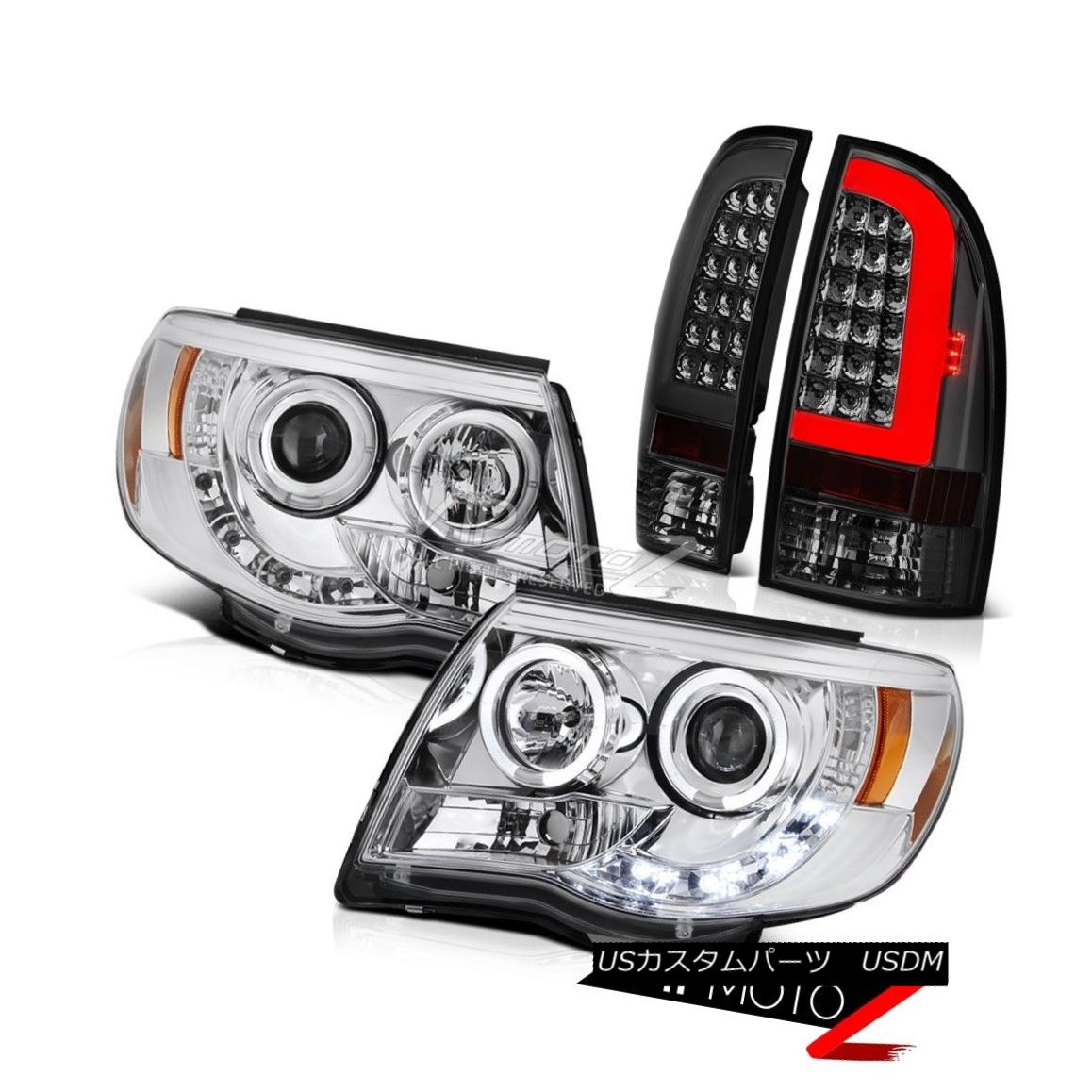 ヘッドライト 05 06 07-11 Toyota Tacoma Smoked Fiber Optic Tail Chrome Custom Head Lights Pair 05 06 07-11トヨタタコマスモークファイバーオプティックテールクロームカスタムヘッドライトペア