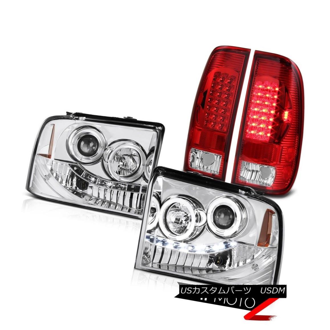 ヘッドライト 2X Angel Eye Projector Headlights Euro LED Tail Light F250 Harley Davidson 05-07 2XエンジェルアイプロジェクターヘッドライトユーロLEDテールライトF250ハーレーダビッドソン05-07